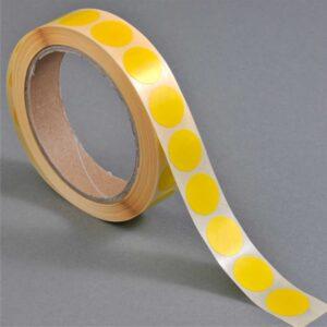 Discos amarelos de base autocolante (13 mm)