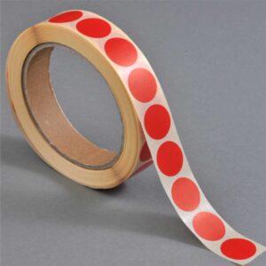 Discos vermelhos de base autocolante (13 mm)