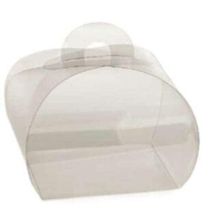 Caixa transparente de quatro abas