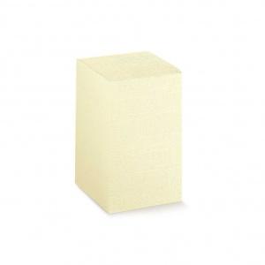 Caixa de base quadrada em cartolina linho marfim