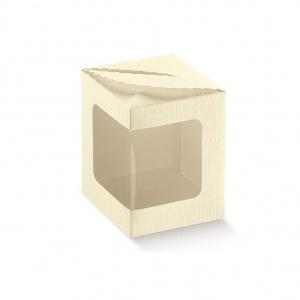 Caixa cartolina linho marfim com topo recortado e vitrine