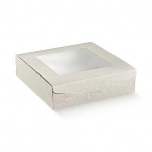 Caixa de base quadrada e tampa com vitrine