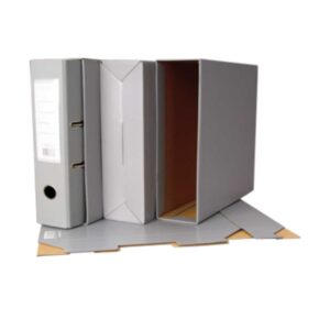 Caixa cinzenta para arquivador de lombada de 8 cm