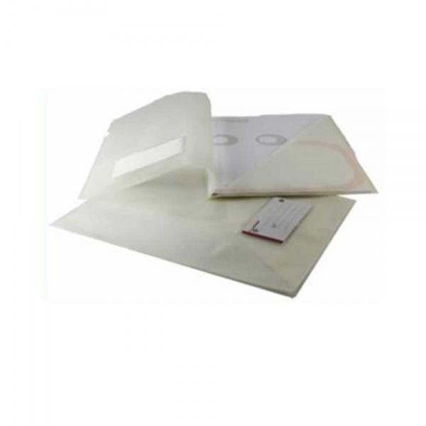 Classificador para A4 em PVC branco translúcido 200 microns com visor na capa e bolsa triangular no interior