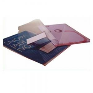 Classificador para A4 em PVC transparente 200 microns com visor na capa e bolsa triangular no interior