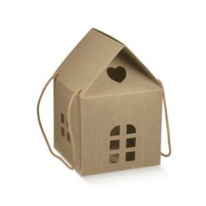 Caixa formato casa em cartão kraft