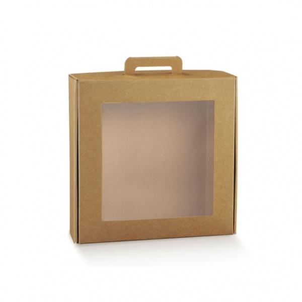Caixa em cartão kraft com vitrine e pega