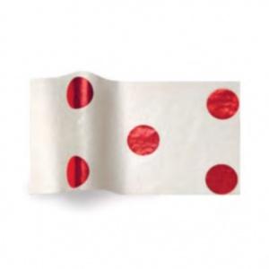 Folha de papel de seda branco com bolas vermlhas