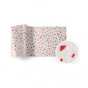 Folha de papel de seda branco com reflexos vermelhos