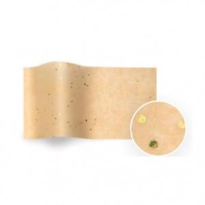 Folha de papel de seda bege com salpicos brilhantes